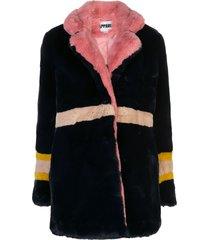 apparis lisa panelled faux-fur coat - blue