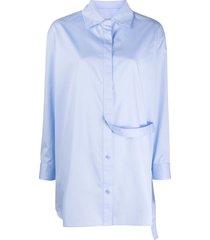12 storeez oversized waist strap shirt - blue