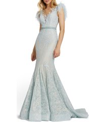 women's mac duggal illusion sequin lace feather sleeve mermaid gown, size 18 - blue