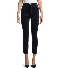 7 for all mankind women's highwaisted velvet ankle skinny jeans - navy - size 32 (10-12)