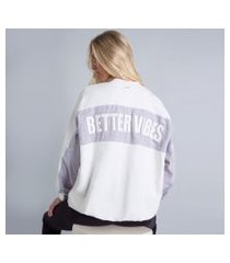 lez a lez - blusão oversized bordado branco off white
