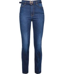 pinko belted slim-fit jeans - blue