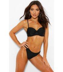 bikini top met geplooide cup en beugel, zwart