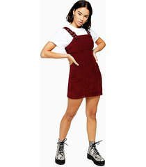 petite burgundy corduroy buckle dress - burgundy