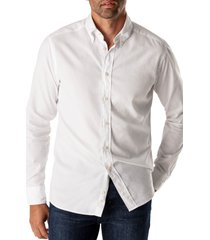 eton soft casual line slim fit oxford shirt, size 16.5 in white at nordstrom