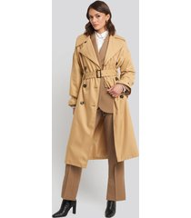na-kd classic maxi oversized belted coat - beige