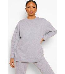 oversized sweater met geplooide mouwen, grey marl