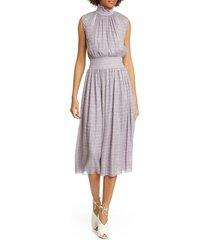 women's adam lippes smocked metallic silk chiffon midi dress, size medium - purple