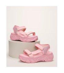 papete infantil flatform tratorada com velcro rosa