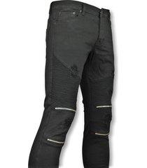 new stone skinny biker jeans met scheuren heren zwart