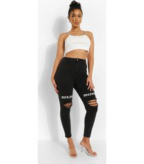 versleten skinny jeans met opdruk, charcoal