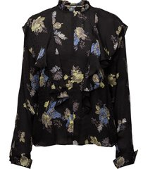 aia blouse so18 blouse lange mouwen zwart gestuz