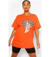 plus luipaardprint t-shirt met lippen, oranje