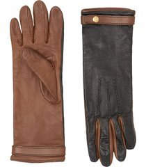 burberry silk-lined two-tone lambskin gloves - black