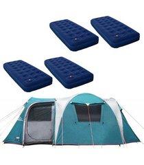 barraca camping nautika arizona gt 9/10 pessoas + 4 colchões solteiro inflável zenite