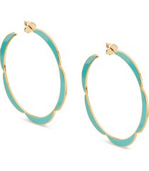 "kate spade new york gold-tone large enamel scalloped-edge hoop earrings, 2.6"""