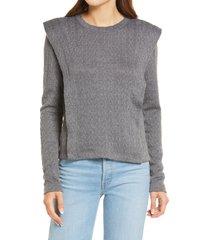 women's treasure & bond seamed cable pullover, size small - grey