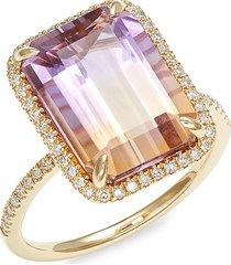 effy women's 14k yellow gold, ametrine & diamond cocktail ring - size 7