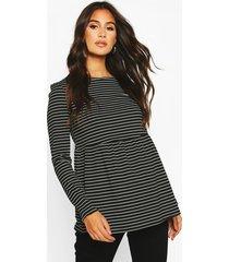 maternity long sleeved stripe smock top, black