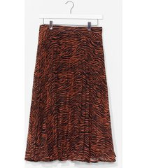 womens as you pleat animal maxi skirt - rust