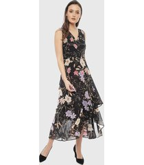 vestido calvin klein violet negro - calce regular