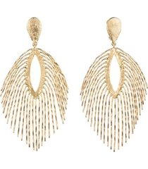 24k gold platedss fringe clip earrings, women's, josie natori