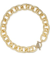 "inc gold-tone pave toggle chain-link 18"" collar necklace, created for macy's"