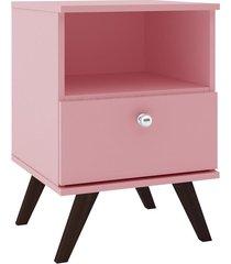 mesa de cabeceira retro movelbento, rosa - rt3019