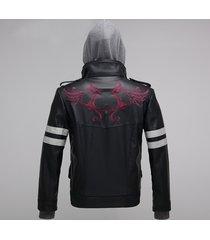 yosinacos men's prototype alex j mercer black leather jacket coat with hoodie