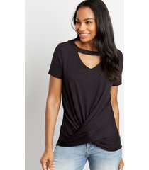 maurices womens 24/7 solid cut out neck twisted hem tee