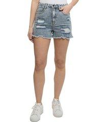 vanilla star destructed curvy-fit frayed-hem high-rise denim shorts