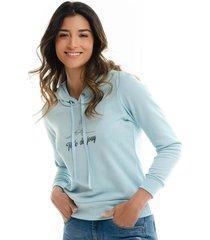 sweater de capota estampado y silueta suelta para mujer 97465