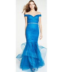 glamour by terani juniors' off-the-shoulder mermaid gown