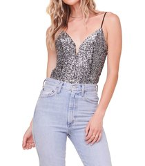 women's astr the label take the plunge sequin bodysuit, size medium - metallic