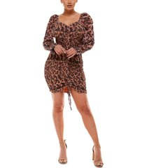 bebe animal-print smocked bodycon dress