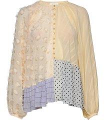 xavi, 845 chiffon mix blouse lange mouwen stine goya