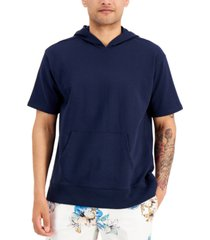 inc men's oversized-fit french terry hooded short sleeve sweatshirt, created for macy's
