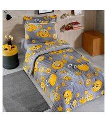 jogo de cama malha solteiro 2 peças 100% alg. 120g/m² fio penteado - appel home - smile