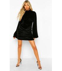 tall velours geplooid mini jurkje met hoge kraag, black