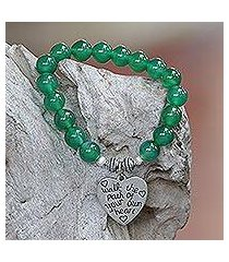 agate beaded stretch bracelet, 'path of love' (indonesia)