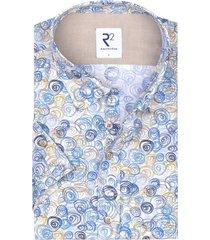 korte mouwen overhemd blauw geprint r2