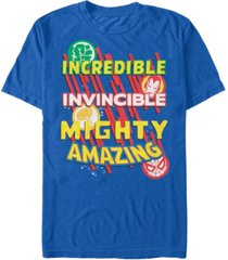 marvel men's comic collection powerful word stack short sleeve t-shirt