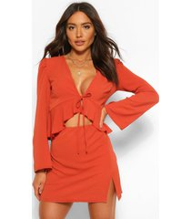 flare sleeve tie blouse and split mini skirt set, rust