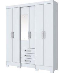 guarda roupa briz b23-10 6 portas 3 gavetas branco