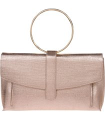 la regale metallic texture fabric expandable front clutch with ring handle