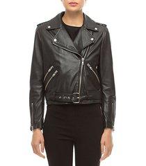 allison leather long sleeve moto jacket