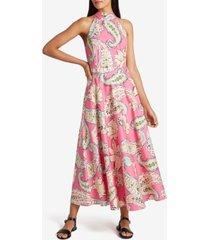tahari asl mock-neck printed dress