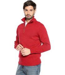 sweater rojo 52 preppy m/l c/alto 1/2 cremallera tejido medio