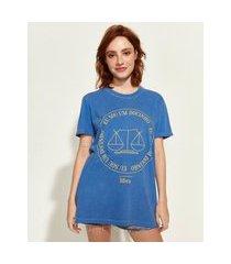 t-shirt feminina mindset obvious signos libra manga curta decote redondo azul