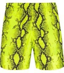 off-white snake print swim shorts - yellow